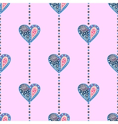 Pattern with colorful decorative hearts vector