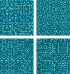 Teal seamless mosaic pattern set vector