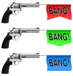 Guns with bang flags vector