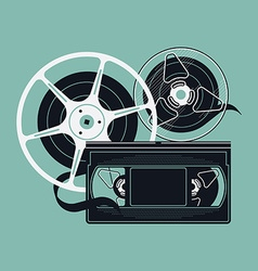 Retro video tape icon vector
