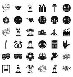 Bad emotion icons set simple style vector