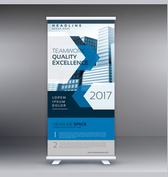 Business presentation standee display roll up vector