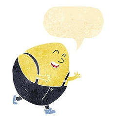 Cartoon humpty dumpty egg character with speech vector