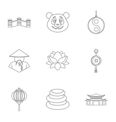 China travel icon set outline style vector