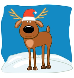 Christmas deer in a cap of santa vector