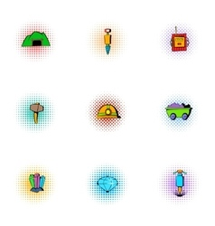 Coal mining icons set pop-art style vector