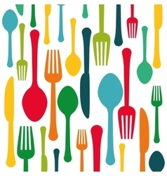 Colorful kitchen utensils background icon vector
