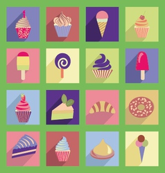 Cupcakes icons with flat 2 38 vector