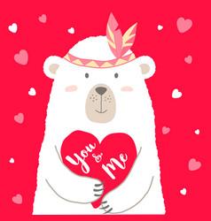 Cute bear holding heart vector