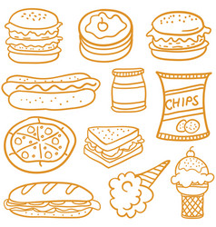 doodle of food element various vector image