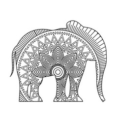drawing zentangle for elephant adult coloring page vector image