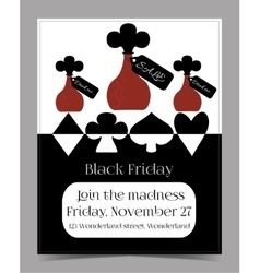 Drink me bottle black friday banner postcard vector