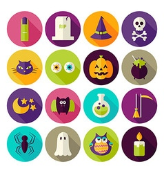 Flat magic halloween witch circle icons set with vector