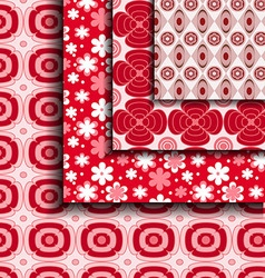 Floral pattern red vector
