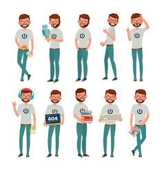 geek man isolated flat cartoon character vector image