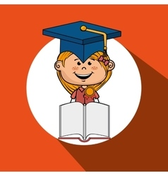 girl student book cap vector image