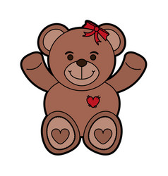 Girly teddy bear baby or shower related icon imag vector