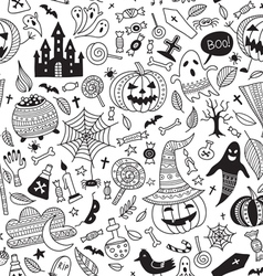 halloween seamless pattern ornamental style vector image vector image