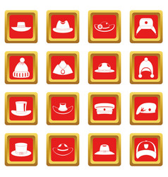 Headdress hat icons set red vector