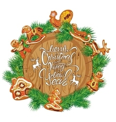 Holiday Card with round wooden frame fir tree vector image vector image