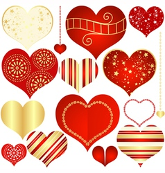 Isolated vintage hearts vector image