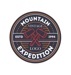 Mountain travel expedition vintage isolated badge vector