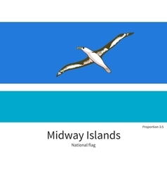 National flag of midway islands with correct vector