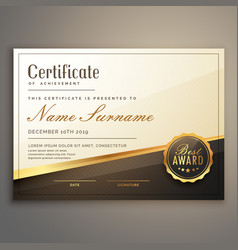 premium certificate template design vector image vector image
