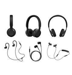 realistic black headphone icon set vector image vector image