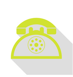 Retro telephone sign pear icon with flat style vector
