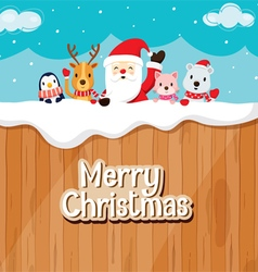 Santa Claus Animals On Wood Fence vector image