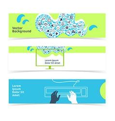Set of horizontal banners headers Editable design vector image