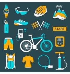 Set of icons about cycling on a white vector