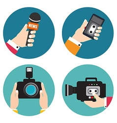 Set of icons with hands holding voice recorders vector