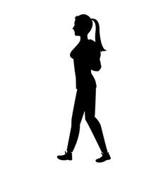 Silhouette girl tail hair walking side vector