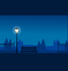 silhouette of fence and street lamp landscape vector image vector image