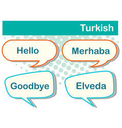 Speech bubbles with turkish words vector