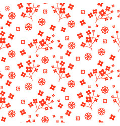 tiny red color floral seamless simple vector image vector image