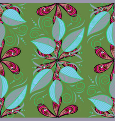 Tropical leaves seamless pattern on painted vector