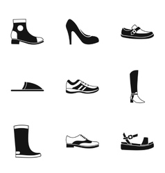 Types of shoes icons set simple style vector image vector image