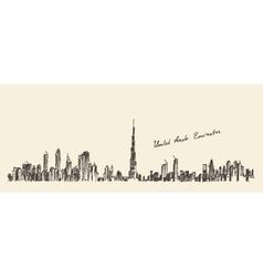 Uae dubai city skyline hand drawn engraved vector
