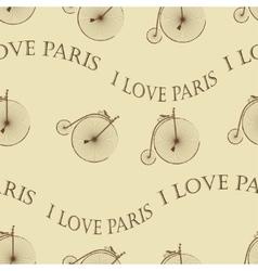 Vintage Bicycle Paris seamless vector image