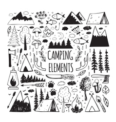 Set of hand-drawn elements for design logo camping vector