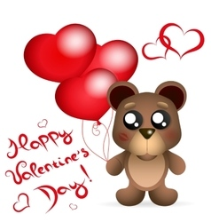 Valentine s day teddy bear with balloons greetings vector