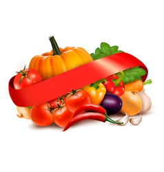 Background with fresh vegetables and red ribbon vector image