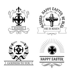 easter cross symbol set with religious crucifix vector image