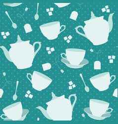 seamless pattern with cups and teapots vector image