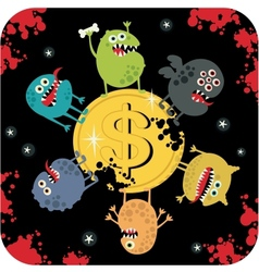 Cute monsters on the coin of dollar vector