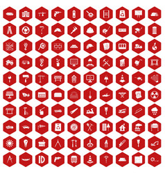 100 construction site icons hexagon red vector