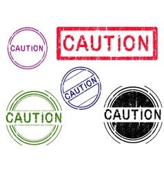 5 Grunge Stamps CAUTION vector image vector image